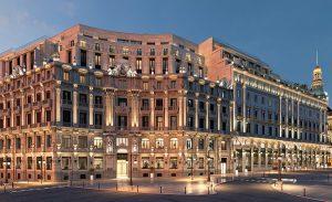 Infografía que muestra el acabado que tendrá el edificio en su fachada de la Plaza CAnalejas, realizada por Estudio Lamela Arquitectos