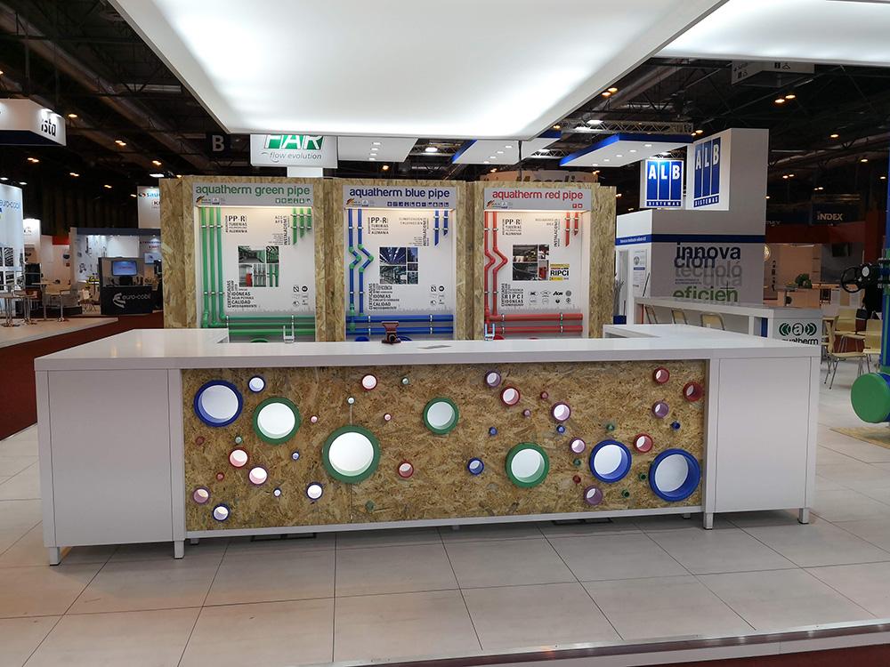 Frontal del stand de aquatherm ibérica en la feria de la climatización y refrigeración 2019.