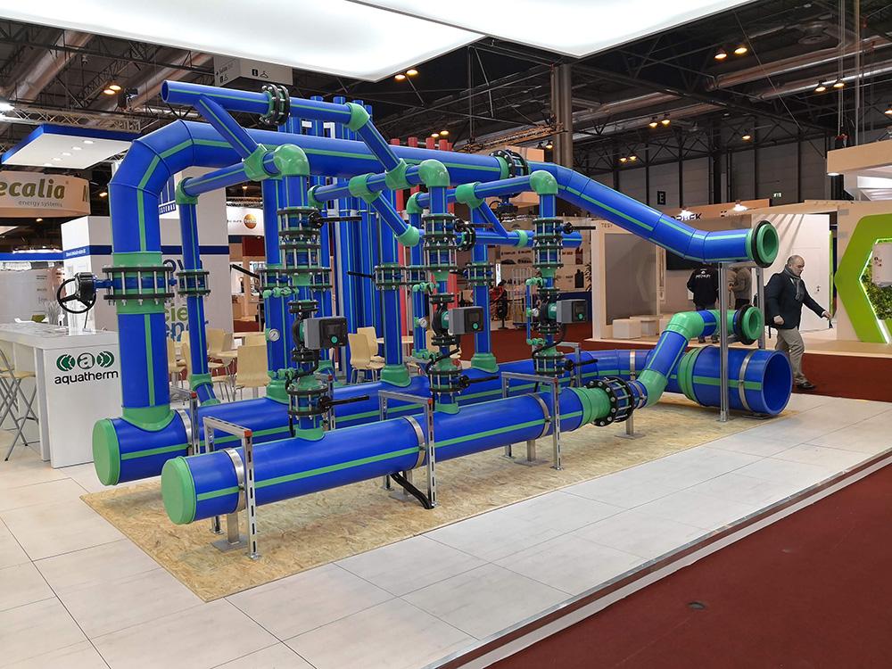 Sistema de tuberías de polipropileno Aquatherm Blue Pipe en el stand de aquatherm ibérica en la feria de la climatización y refrigeración 2019.
