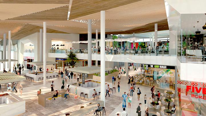 Tuberías de polipropileno aquatherm en centro comercial Lagoh de Sevilla, interior centro